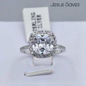 S925 Cushion Cut Halo 10mm CZ Ring SRC16135